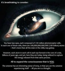 The cosmos is your eye